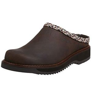 Simple Womens 8.5 Brown Leather Clogs Slip On Shoe